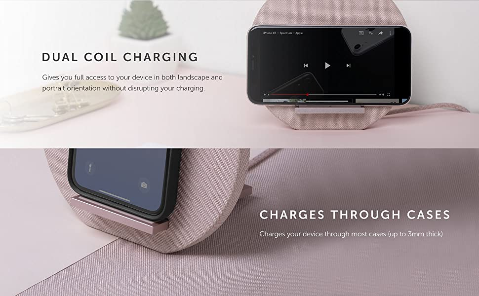 Native Union Dock Wireless Charger Stand - High Speed [Qi Certified] 10W Versatile Fast Wireless Charging Stand - Compatible with iPhone 11/11 Pro/11 ...