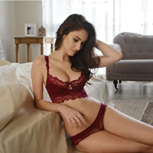 5cfd7484cd349 Amazon.com  Women s Comfortable Sexy Push Up Embroidery Lace Bra and ...