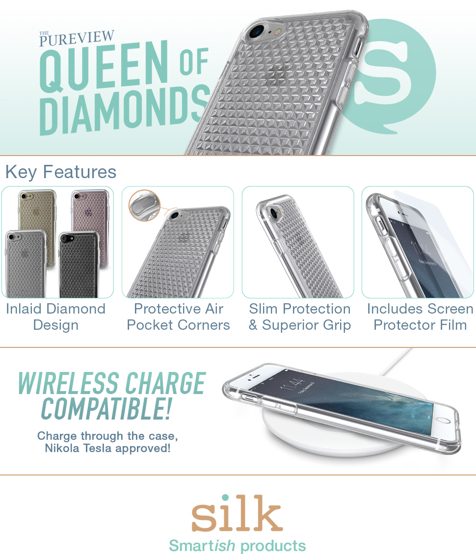 huge discount af0c8 13dfe Silk iPhone 7/8 Clear Case - PUREVIEW Protective Slim Grip Cover - Queen of  Diamonds - Crystal Clear