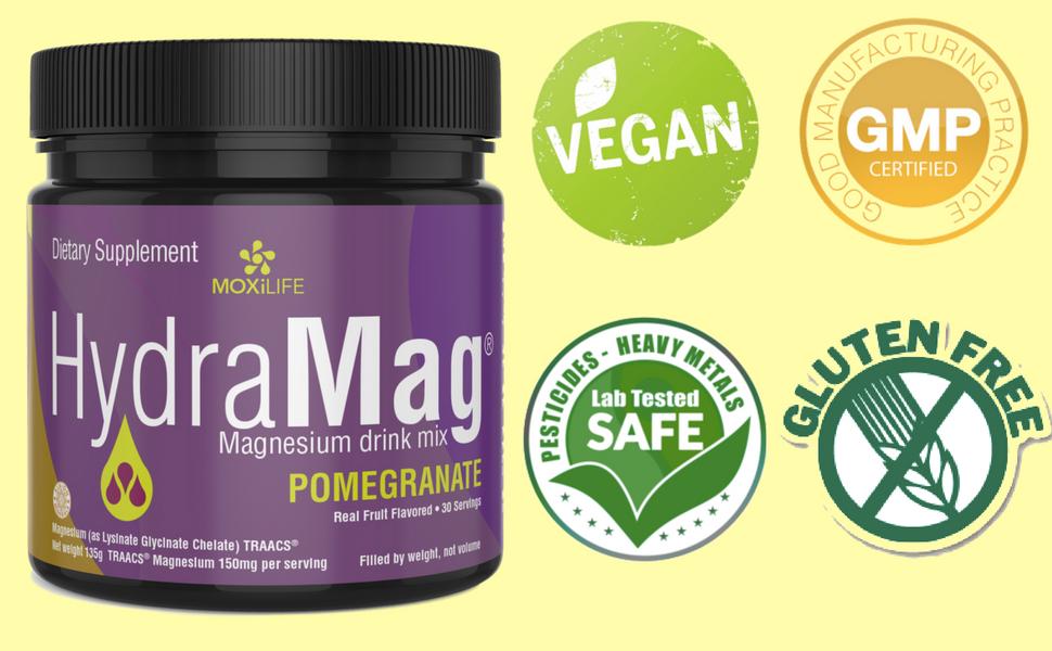 HydraMag is Vegan, GMP Certified, Sports Safe & Gluten Free