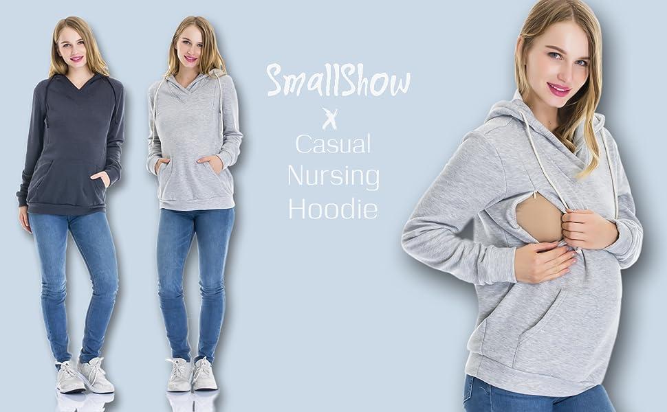 90a1e3d2e4c0e Amazon.com: Smallshow Women's Fleece Maternity Nursing Sweatshirt ...