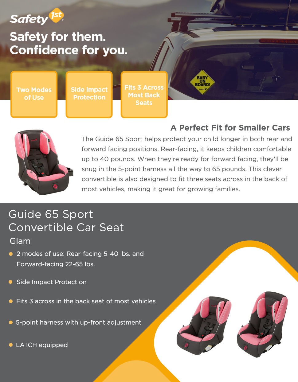 The Guide 65 Sport Is Perfect Fit For Smaller Cars And Helps Protect Your Child Longer In Both Rear Forward Facing Positions