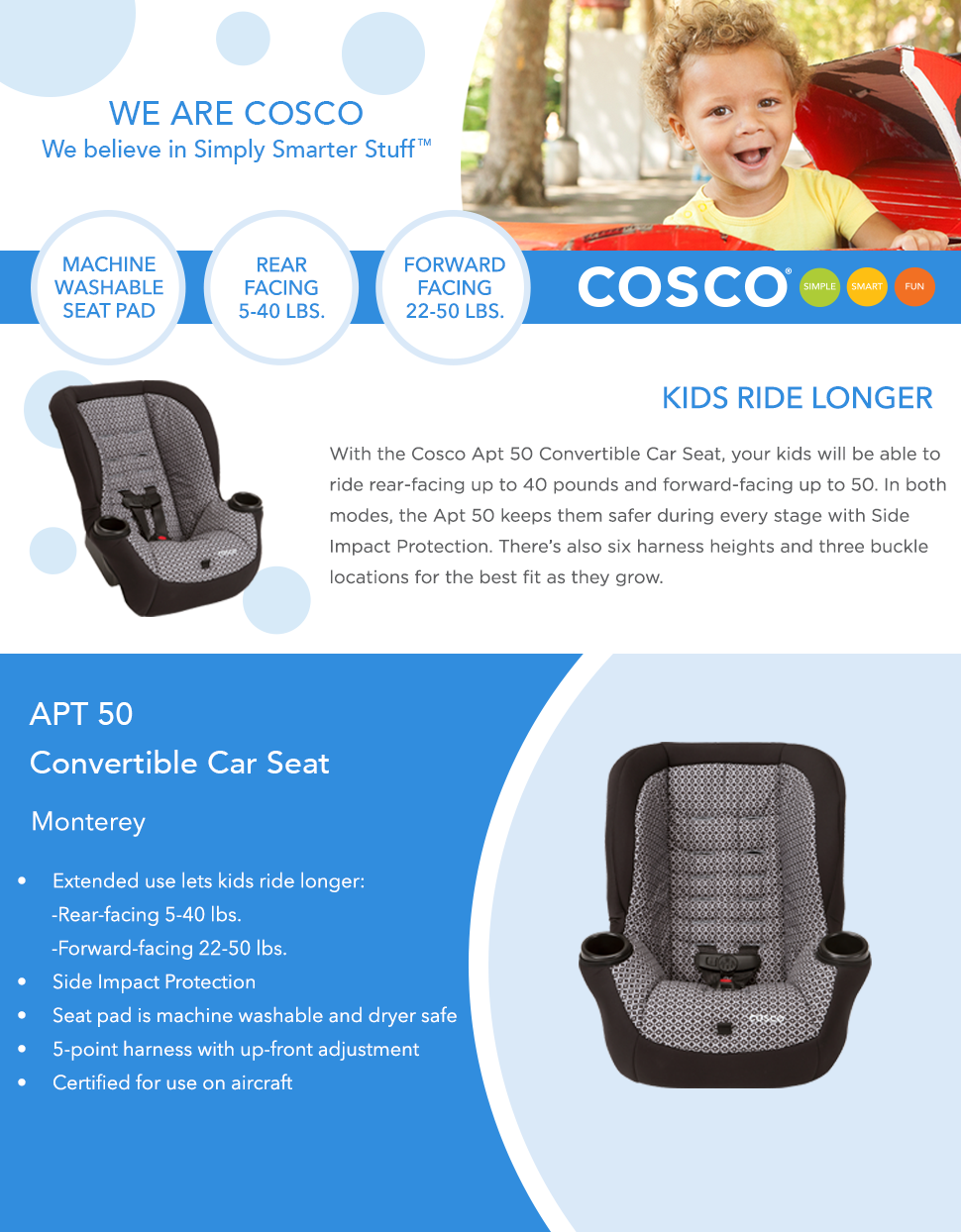 Amazon.com : Cosco Apt 50 Convertible Car Seat, Monterey : Baby