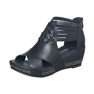 antelope sandal women, black wedge sandals, black wedge sandals  women, black wedges women,