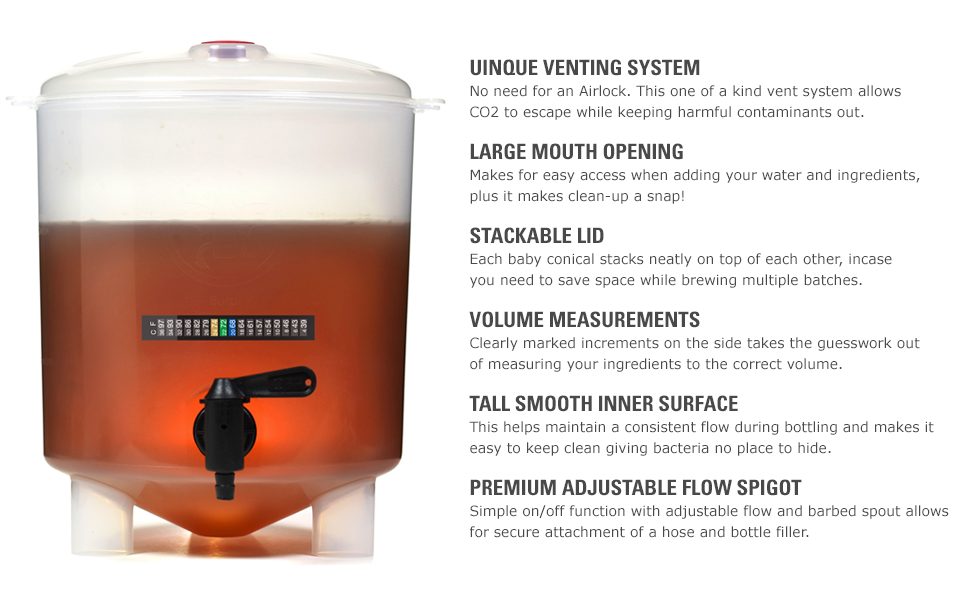 craft beer, Home brew, beer making kit, 1 gallon conical fermenter
