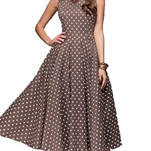 7ef097c814c iChunhua Women's Vintage Sleeveless Dress Polka Dot Bowknot Swing Dress