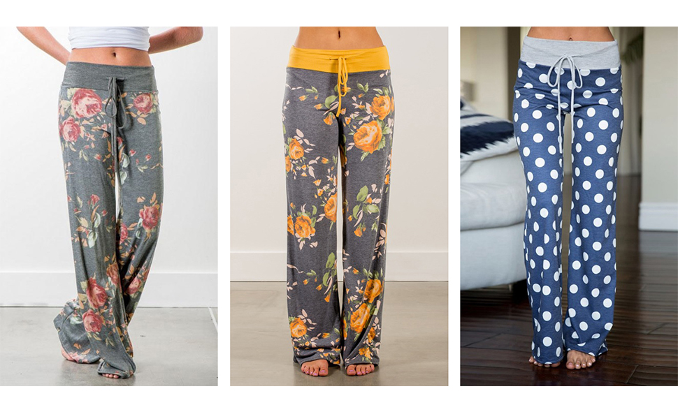 Elastic waist High waist Floral print palazzo pants for women