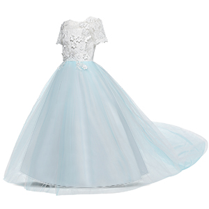 NNJXD Girls Princess Mint Blue Pageant Long Dress
