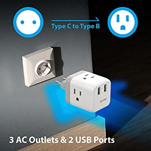 European travel plug adaptor international European to American power outlet adapter type c
