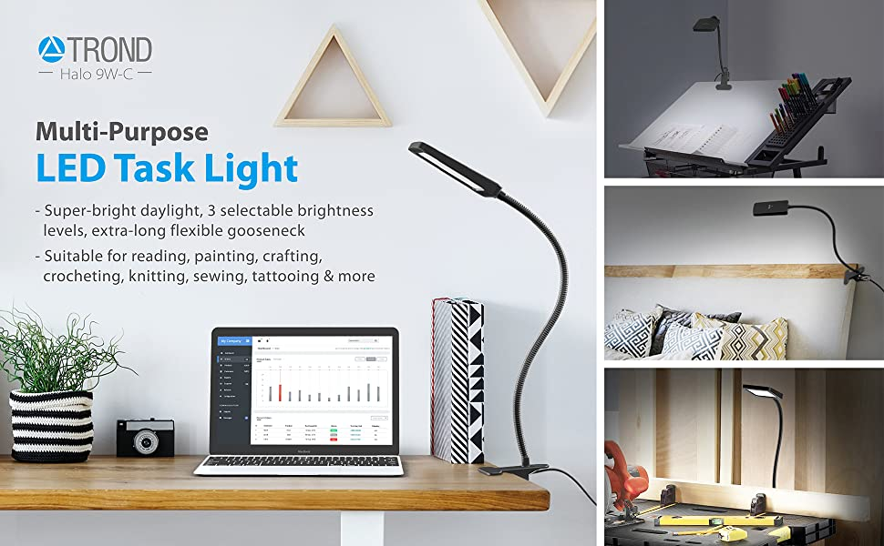 TROND LED clamp light task lamp dimmable natural daylight