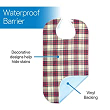 Waterproof vinyl backing and high quality cotton material keeps from spills and staining.