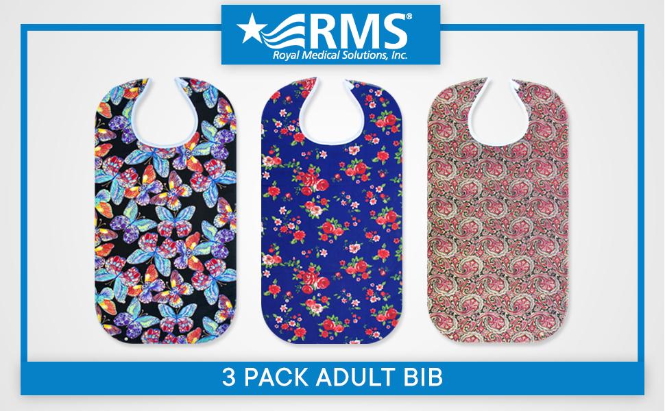 Ready to Ship Adult bib senior bib Royal blue terry cloth /& blue green purple dots reversible snaps