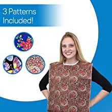3 adult bibs include Vivid Butterfly, Blue Rose and Heritage. The decorative designs hide stains