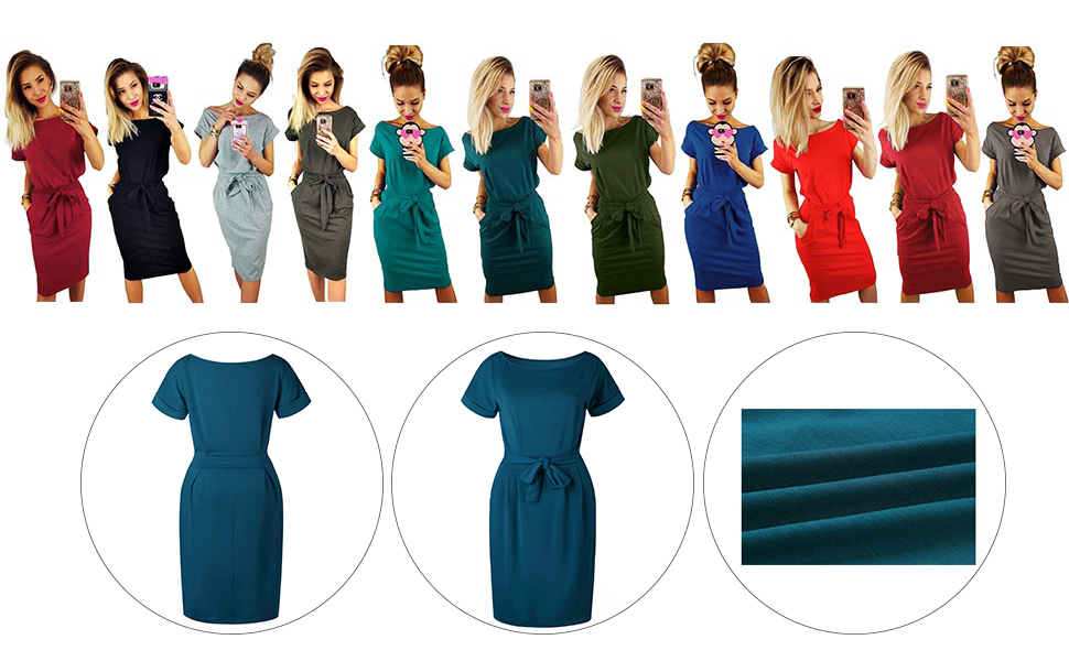 0878d01e7ee STYLE2  Longwu Women s Bandage Elegant Short Sleeve Wear to Work Casual  Pencil Dress With Pockets