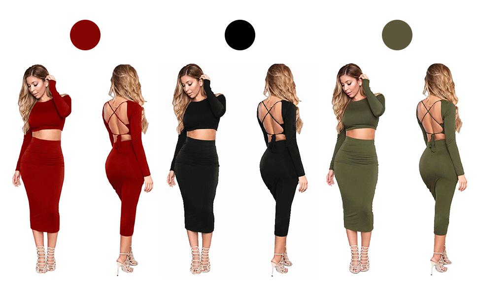 c2636c59e265 STYLE1: Longwu Women's Sexy Bodycon Bandage Midi Dress Long Sleeve 2 Piece  Backless Skirt Party Evening Wear. black long graduation club sleeve  homecoming ...