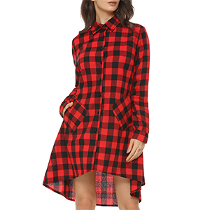 f19a60e4f94a8 Mixfeer Women s Casual Oversize Plaid Tunic Dress Loose Asymmetrical ...