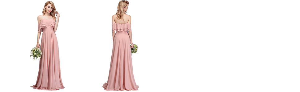 3e4cdc4ae943 CLOTHKNOW Strapless Chiffon Bridesmaid Dresses Long with Shoulder ...