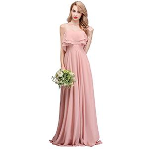b5b6df78c3c1 Bridal Long Strapless Chiffon Bridesmaid Dress Dusty Rose for Wedding  Guests Wedding Party. Double Shoulder Ruffles Bridesmaid Dress Prom Dresses  ...