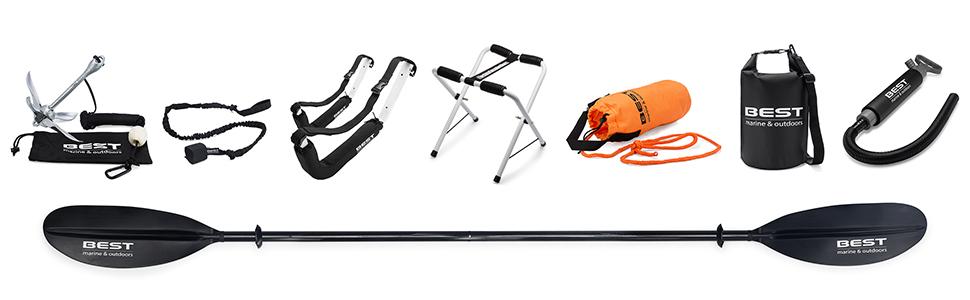 kayak accessories, kayak anchor, kayak paddle, kayak storage, dry bag, bilge pump, rescue throw bag