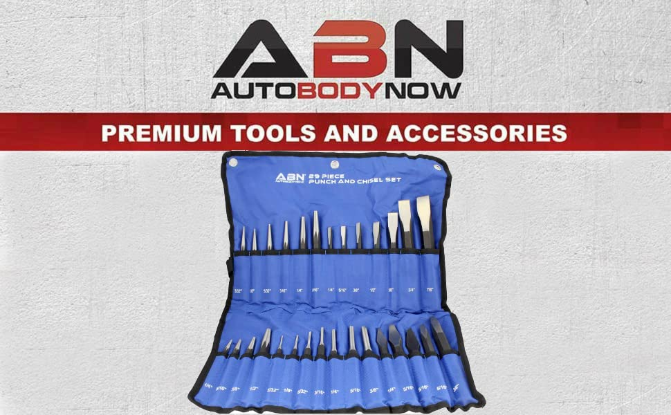 ABN 29 piece chisel punch tools in blue fold case autobodynow premium tools and accessories