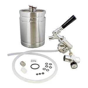 Mini keg with regulator and dispenser