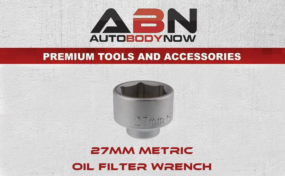 27mm Metric CRV Steel ABN Oil Filter Wrench Socket Tool to Remove Cartridge Style Housing Canister Cap Low Profile