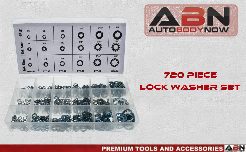720 piece lock washer set by Auto Body Now Premium tools and Accessories ABN Tools