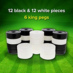 Picture of checkers - 12 black and 12 white pieces, 6 king pegs