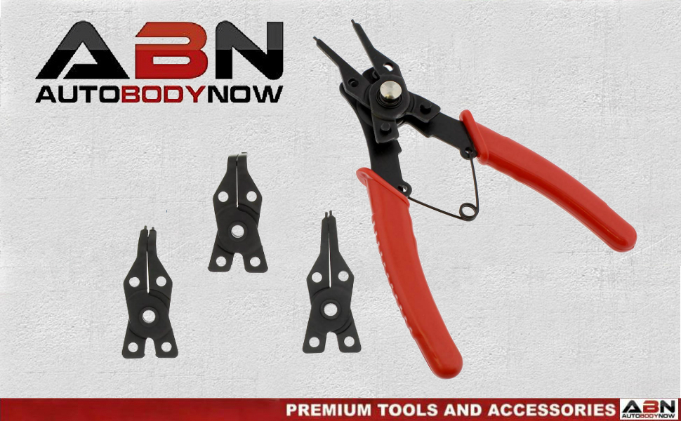 ABN c clip snap ring pliers set with Changing Jaws by Auto Body Now Premium tools and Accessories