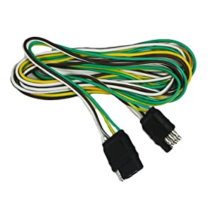 Amazon Com Abn Trailer Wire Extension 20ft 4 Way 4 Pin Plug Flat 20 Gauge Hitch Light Trailer Wiring Harness Extender Automotive