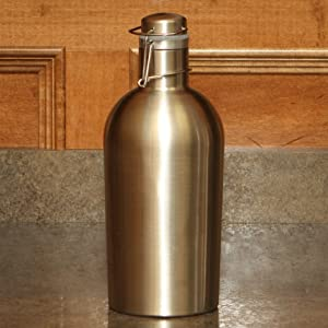 Beer Growler - 2 Liter, 67 Ounces - Double Wall Stainless