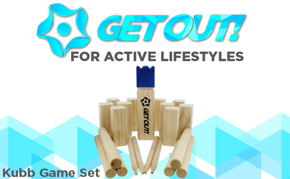 Amazon Get Out Kubb Game Set 21 Piece Yard Toss Fun The