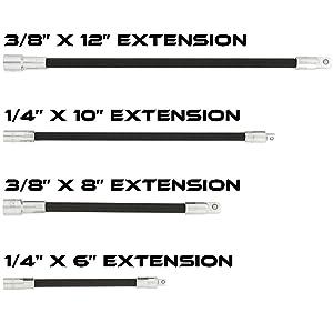 "ABN Flexible Socket Extension Cable Flex Bar Ratchet Light Impact Tools 4-Piece Set of 1//4/"" Inch Drive /& 3//8/"" Inch Drive"