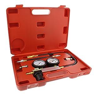 Picture of cylinder leak detector engine compression tester kit inside storage case