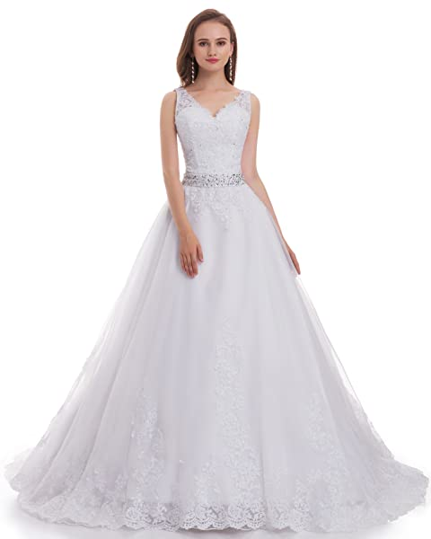 fair lady womens double v neck lace applique empire chapel train wedding dress