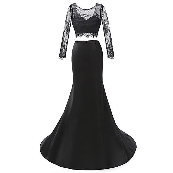 Fair Lady Trumpet V-Back Long Sleeves Lace Two-Piece Prom Dress Elegant Party Gowns