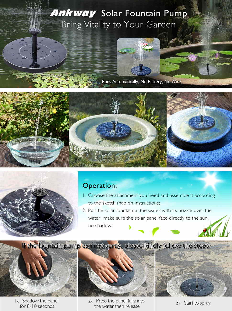 Amazon Com Ankway Solar Bird Bath Fountain Pump For
