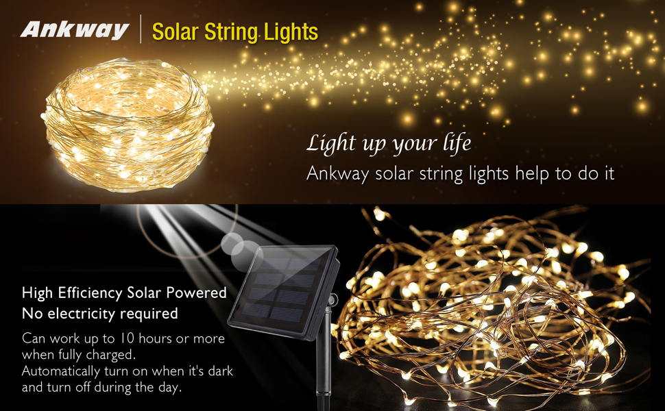 ankway 200 led solar christmas string lights 8 modes copper wire lights for indoor outdoor patio