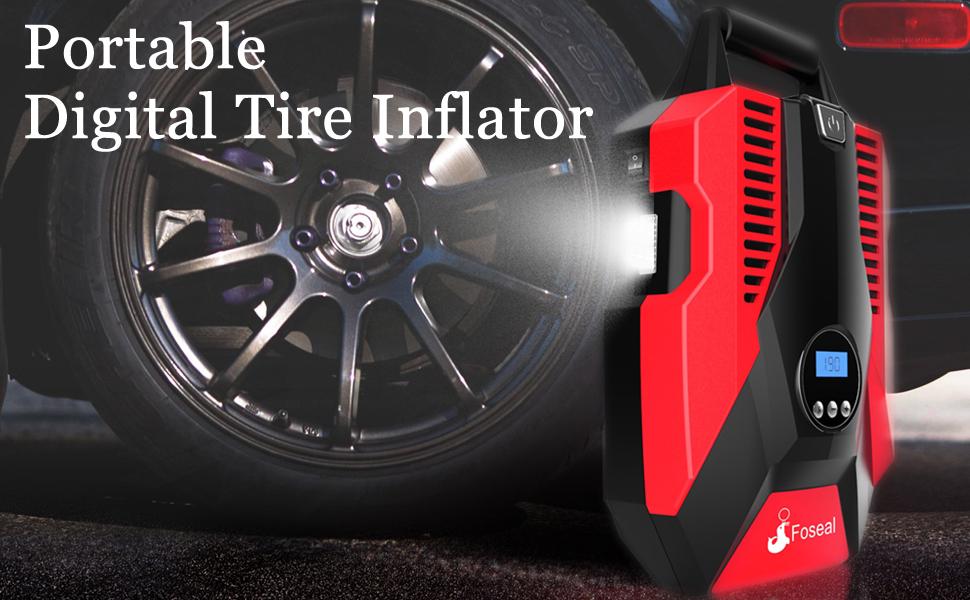 12v tire inflator portable air compressor LED light night use