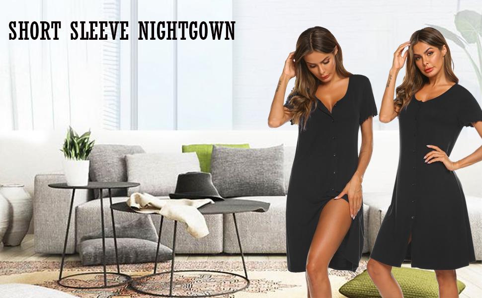 Ekouaer Sexy Sleep Shirts For Women Button-Front Nightshirt