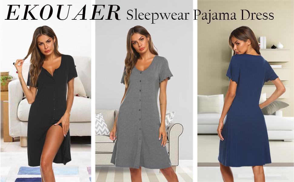 EKOUAER Sleepwear Pajama Dress