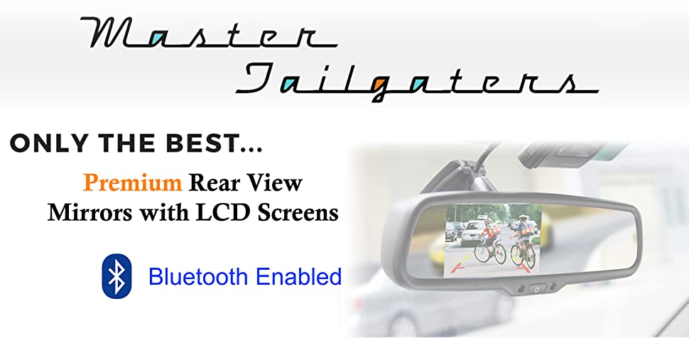 Hands Free Calling w//Built in Speaker /& Microphone Universal Fit Master Tailgaters OEM Bluetooth Rear View Mirror with 4.3 Auto Adjusting Brightness LCD