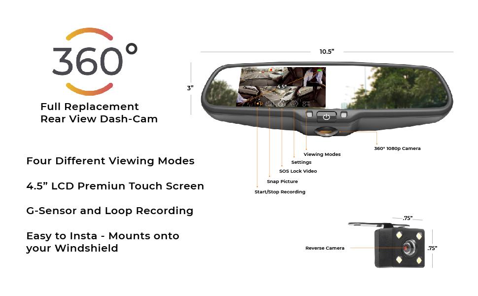 dvr5, 360 degree, 360°, dash cam, rear view, incab, lyft, uber, camera, dash camera