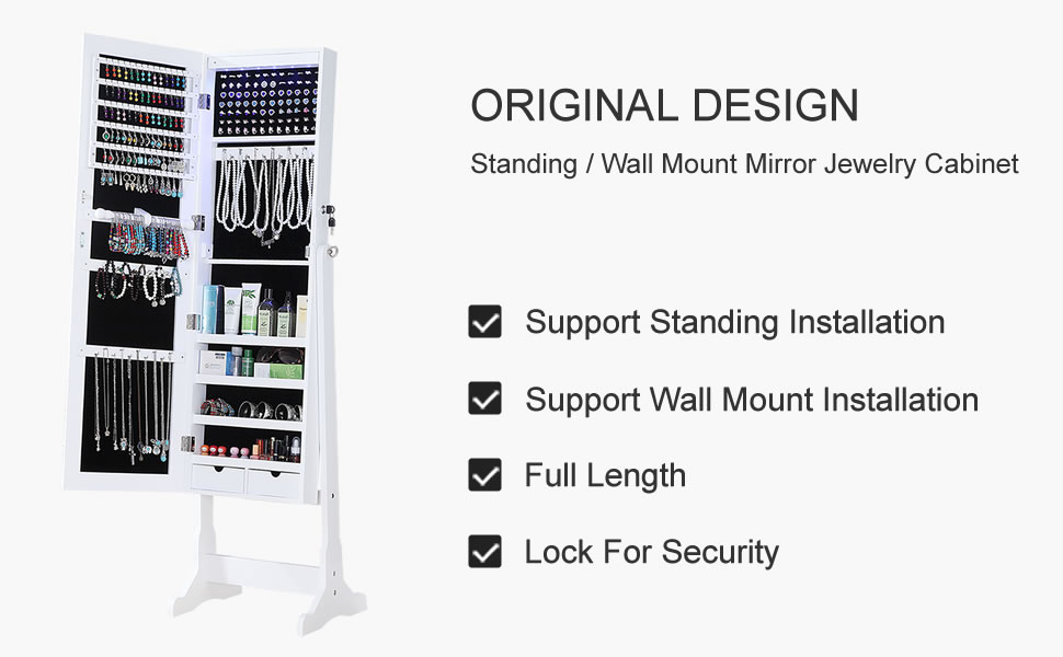 White Standing / Wall Mount Full Length Mirror Jewelry Armoire