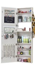 Wall/Door Mount Mirror Jewelry Cabinet