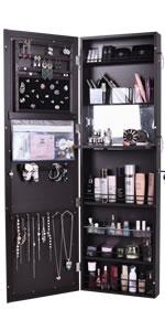 Brown Wall/Door Mounted Mirror Jewelry Cabinet