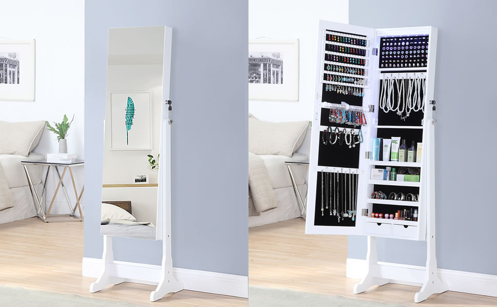 . GISSAR Jewelry Organizer Full Length Mirror Jewelry Cabinet Standing Wall  Mounted Jewelry Armoire Storage with Lights Lockable White