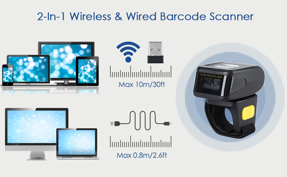 2-in-1 wireless wired barcode scanner