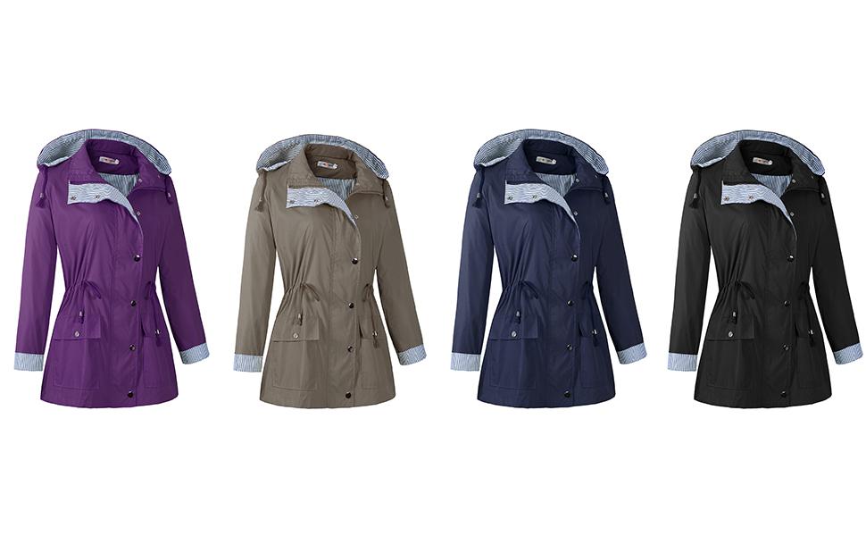 1306c5877 Women Rain Jacket Waterproof with Hood Lightweight Raincoat Outdoor  Windbreaker. q. Item Names: Raincoat, Rain Jacket ...