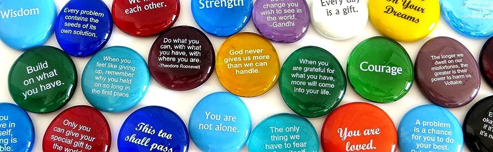 inspirational gift, encouragement gift, words on stones, glass stones, lifeforce glass, motivational